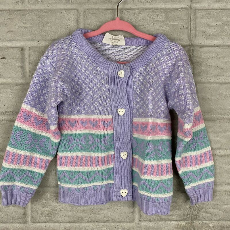 The Club House Baby Girl Vintage Cardigan Sweater Size 24 Months Heart Buttons