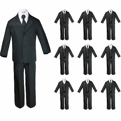 New 6pc Black Formal Tuxedo Suit + Extra Satin Necktie for Boy Baby Toddler S-20](Black Suits For Toddlers)