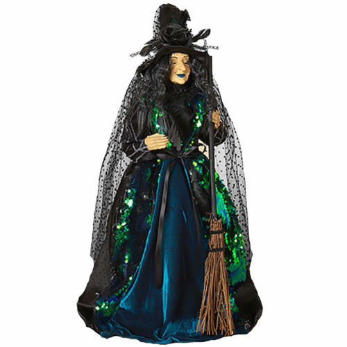 """20"""" Gerson Company Standing Sequin Witch w/ Broom Halloween Figurine Doll Decor"""