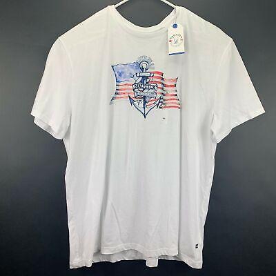 Nautica Mens American Flag Cotton Graphic T-Shirt White 3XL