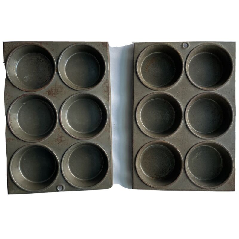 """Vintage Muffin Tins (2) 6 Cup Metal Unbranded Shallow Hole For Hanging 10"""" X 7"""""""