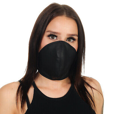 Rinds Leder Mund Bedeckung Wind-Schutz Gesichtsmaske Steampunk Biker - Maskerade Maske Schwarz