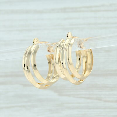 Triple Hoop Earrings - 18k Yellow Gold Pierced Snap -