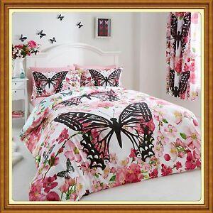 neuf papillon fleuri housse de couette taies d 39 oreilles ou avec drap ebay. Black Bedroom Furniture Sets. Home Design Ideas