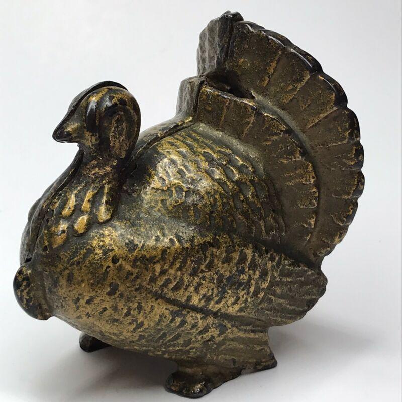 Turkey Cast Iron Still Penny Bank - Gold Tone