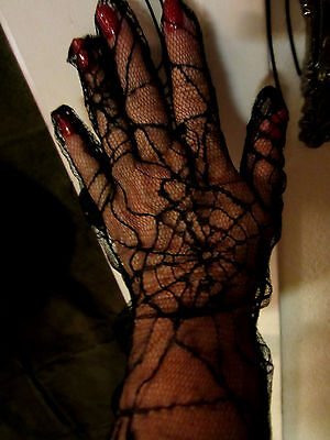 WITCHES GLOVES LONG BLACK  LACY SPIDERWEB HALLOWEEN COSTUME FULL LENGTH 19