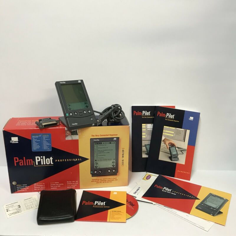 Palm Pilot Professional 80201U The Very Connected Organizer PDA 3Com 1997 w/ Box