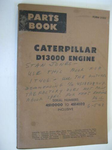 1958 CATERPILLAR D13000 ENGINE PARTS BOOK MANUAL