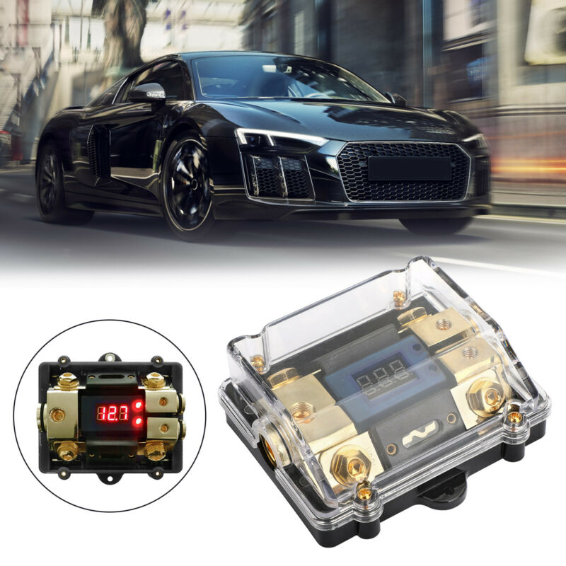 LED Display 1x0 IN 2x4GA OUT Distribution Block Fuse Holder for Car Audio Marine