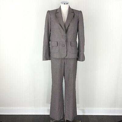 Anne Klein 10 brown Wool blend Pant Suit Career Cocktail trouser leg