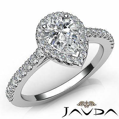 Halo French Pave Set Pear Cut Diamond Engagement Ring GIA E Clarity VS1 1.22Ct