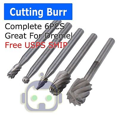5pc Tungsten Carbide Cutting Burr Set Dremel Drill Bits Rotary Grinder Grinding