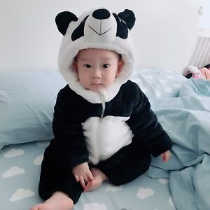 Panda jumpsuit / baby clothes / Outside warm cloth