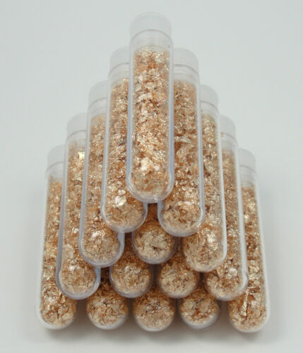 5 Vials! - Filled - Fine Collectible - Gold Leaf Flakes - Bullion