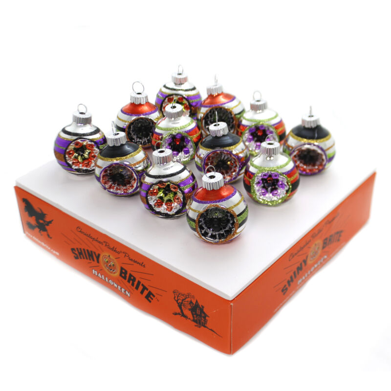 Shiny Brite Halloween Decorated Rounds Ornament Spiders Reflectors 4027669