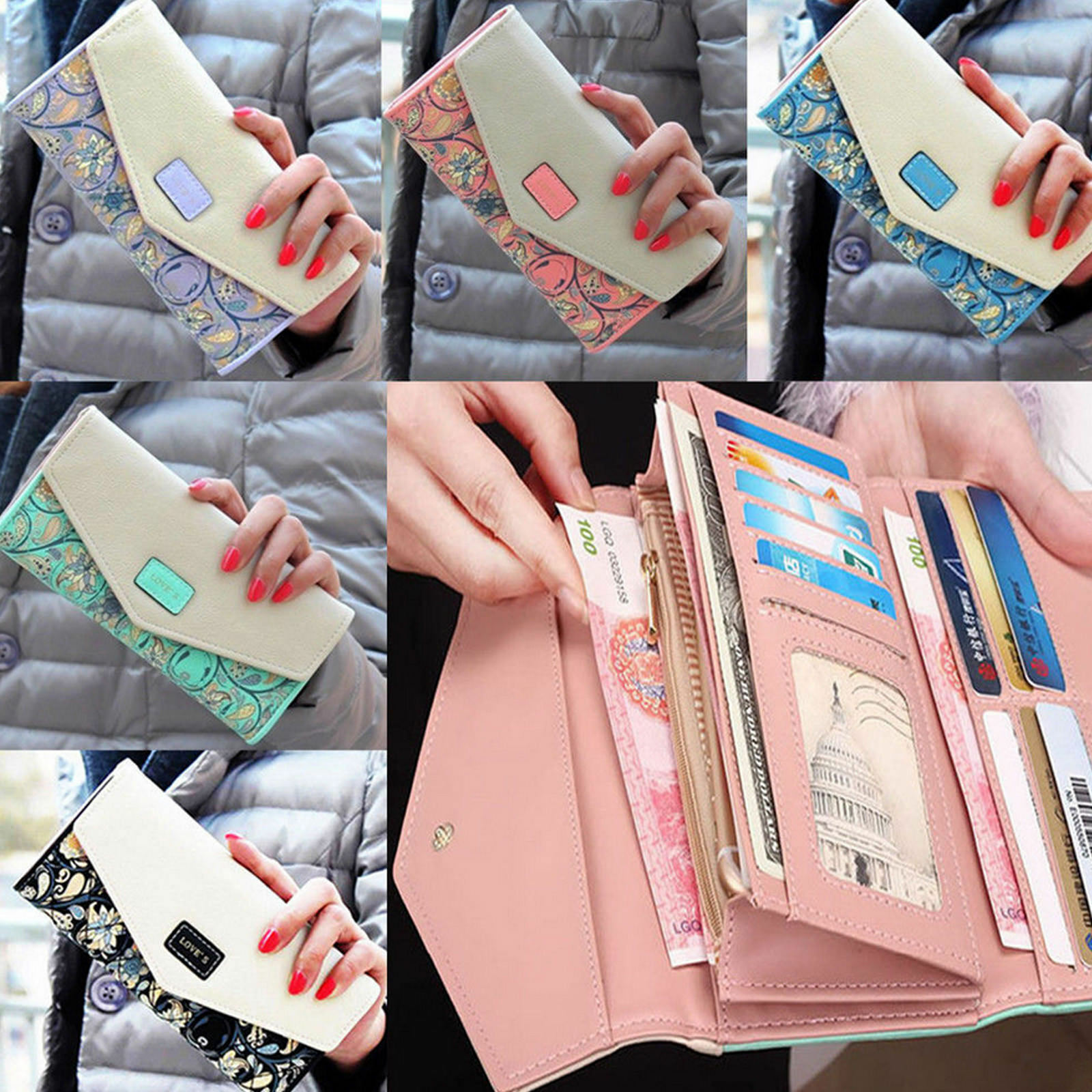 Luxury Men's Leather Long Wallet Bifold Purse Clutch ID Credit Card Holder US Clothing, Shoes & Accessories