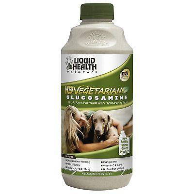 Liquid Health Dogs K9 Vegetarian Glucosamine MSM, Vitamin C, Grape Seed 32oz New