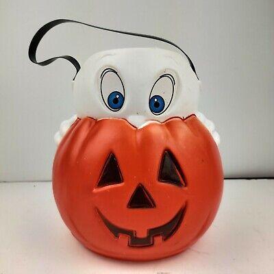 VTG 1995 Empire Blow Mold Casper Ghost Pumpkin Halloween Trick/Treat Bucket Tag