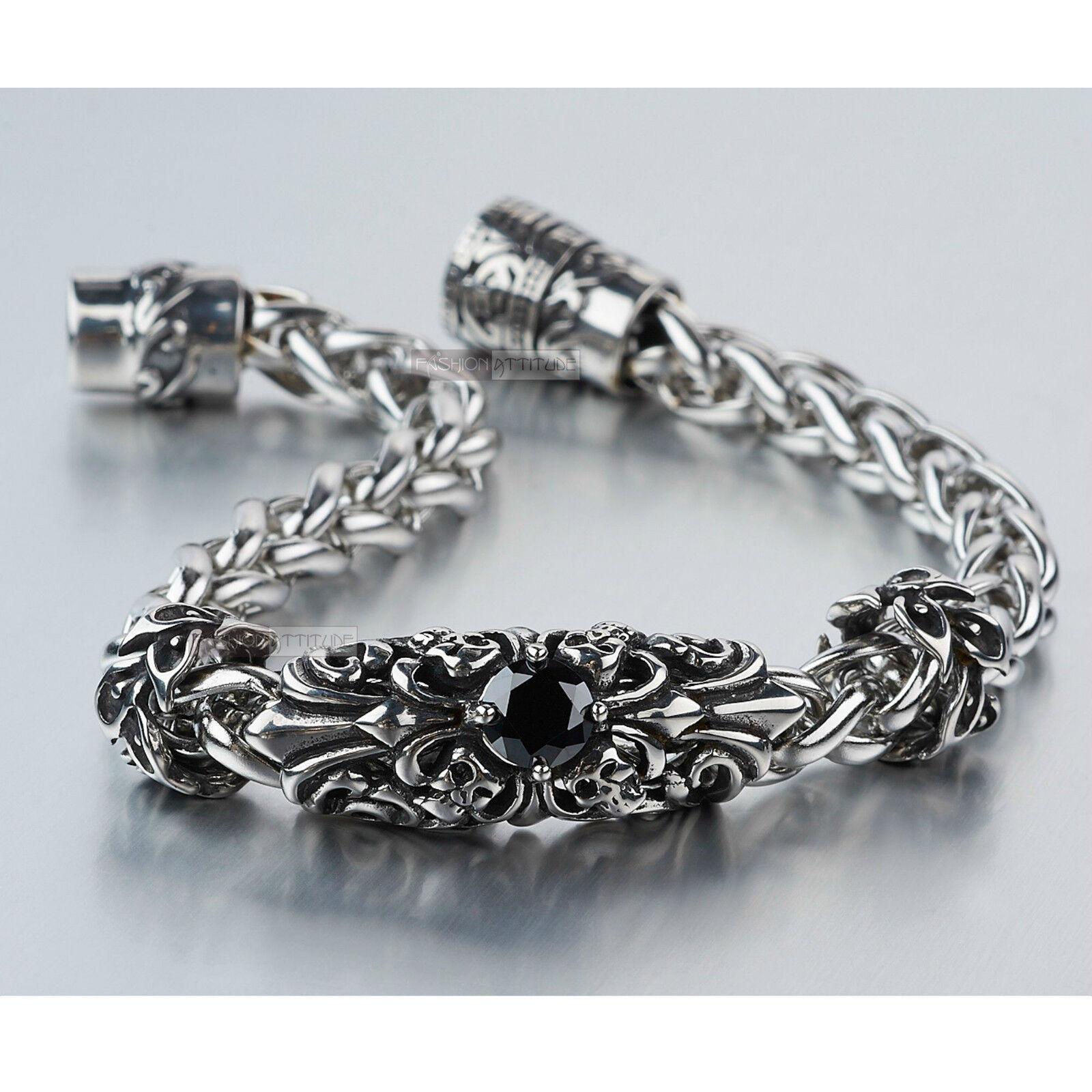 Silver bikies chain stainless steel made with swarovski crystal ... 42b4977493