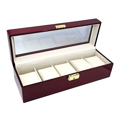 ROSEWOOD WATCH CASE STORAGE DISPLAY GLOSSY FINISH WOOD GLASS NEW  ()