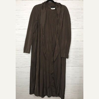 Hooded Nylon Cape (Yeohlee Brown Nylon Hooded Long Coat Cape Jacket Lagenlook Sz S )