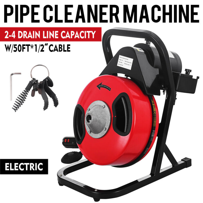 Electric 50 Ft Compact Electric Drain Pipe Cleaner Sewer Snake Auger Power Feed