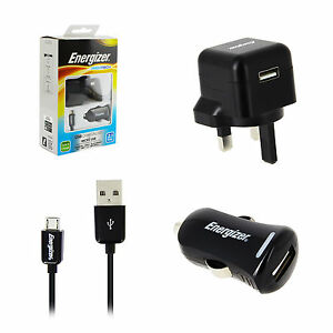 Genuine Mains Wall Charger + In Car Charger Micro USB Data Sync Cable Lead 2.1A