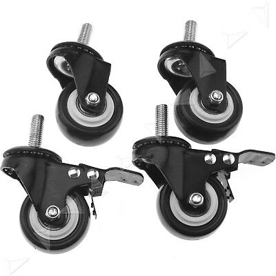 4pcs Pu Swivel With Brake Castor Wheel With Screw Trolley Furniture Caster 50mm
