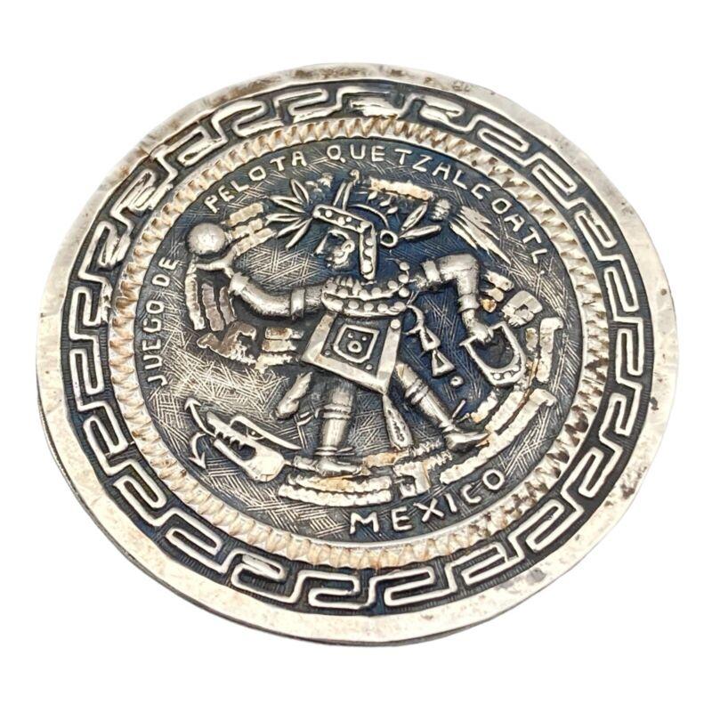 Vintage JUEGO De PELOTA QUETZALCOATL Sterling Silver Mexico Pendant Brooch