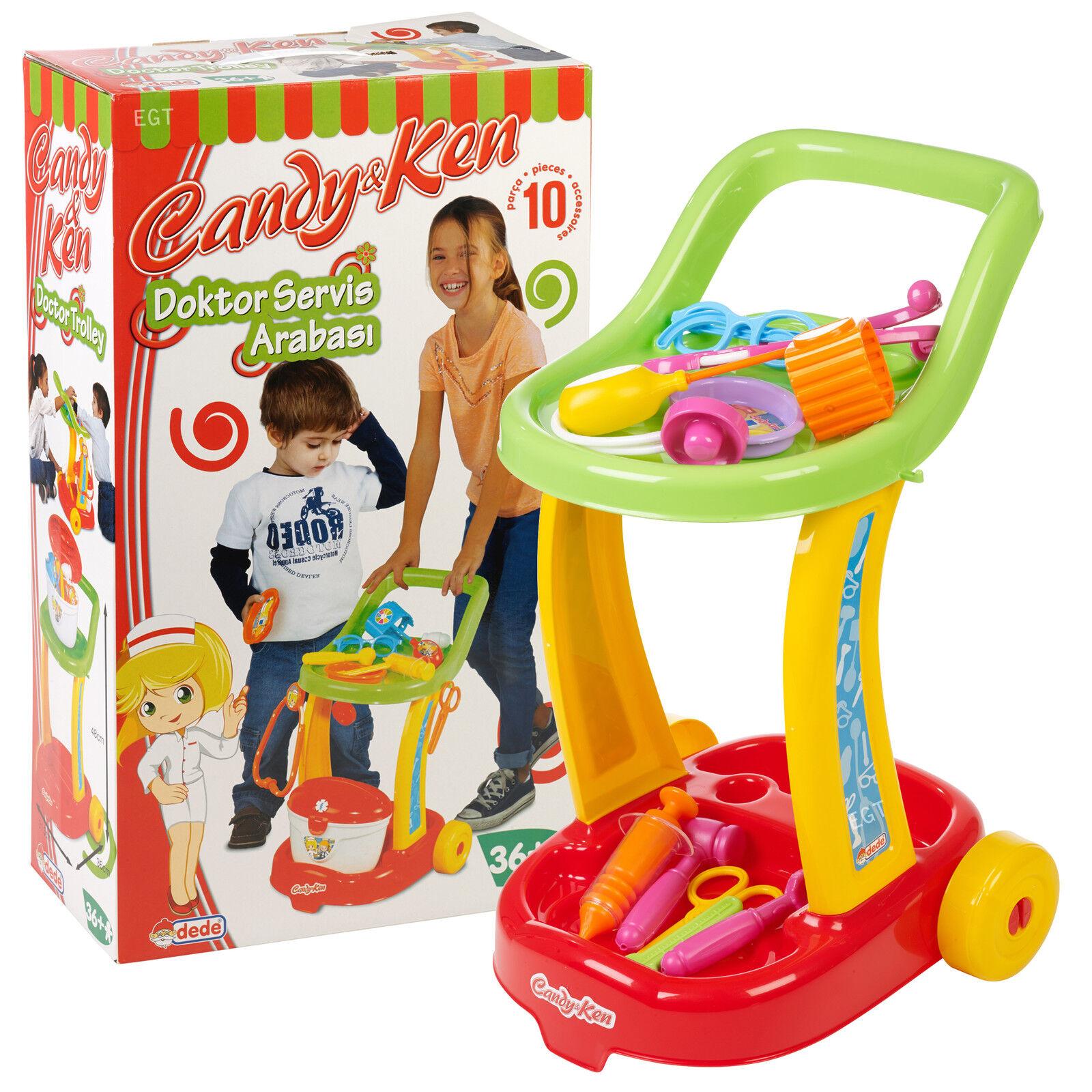 Bambini Ragazzi Ragazze Dottore Infermiere Medico TROLLEY KIT SET ROLE PLAY Finta giocattolo divertente