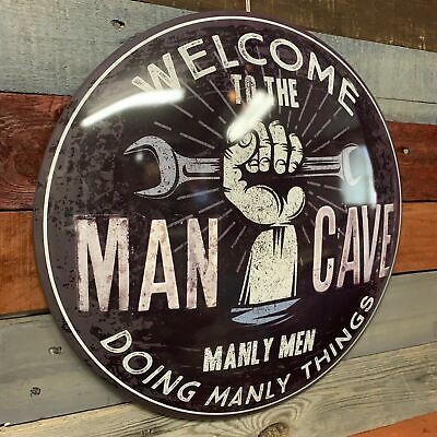 Man Cave Dome Round Metal Sign Bar Man Cave Garage Wall Decor (Round Metal Bar)