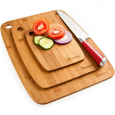 Savisto Bamboo Chopping Board Set | 3 Solid Wooden Kitchen Food Cutting Boards