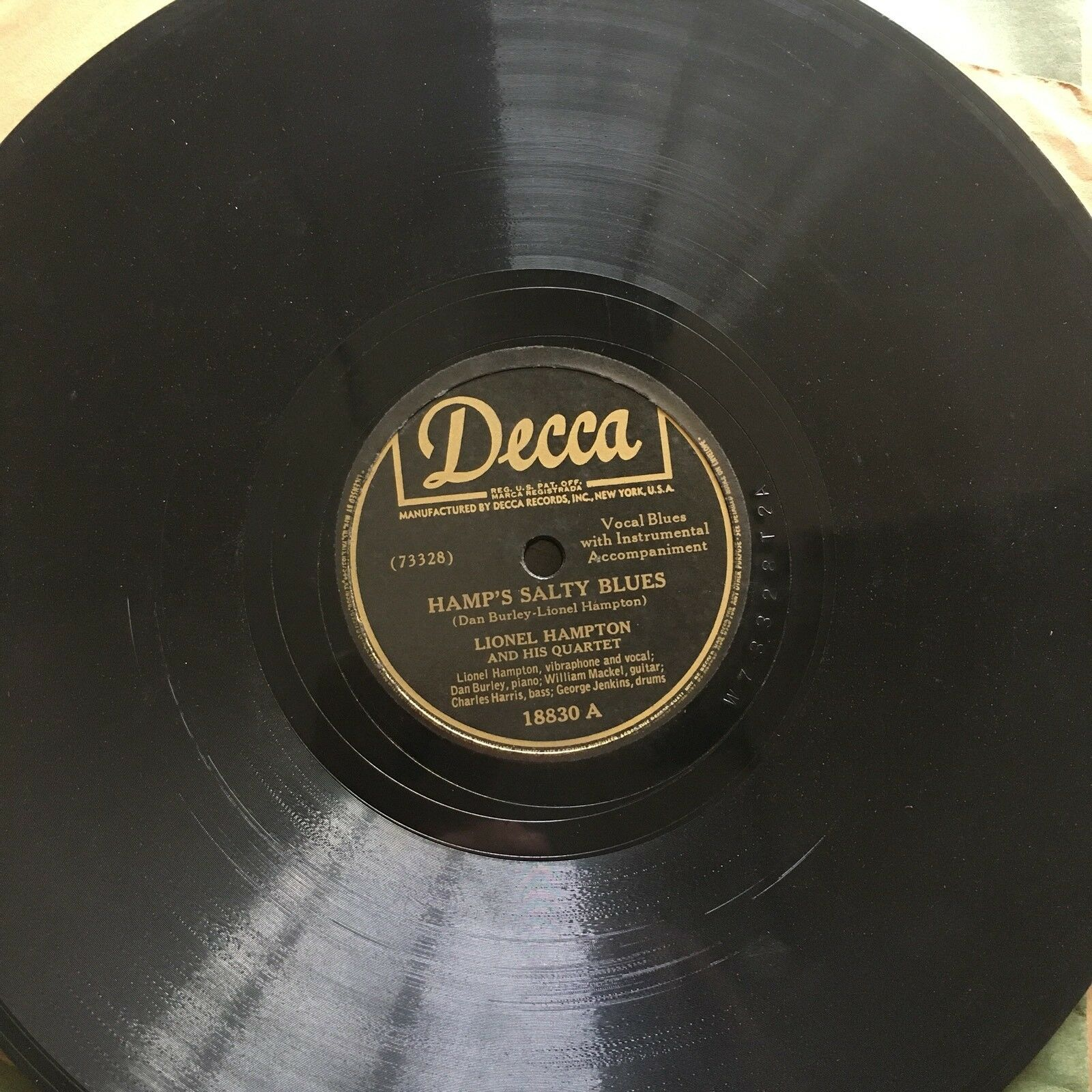 "[1946] ""HAMP'S SALTY BLUES"" Lionel Hampton Quartet 78 rpm DECCA 18830 Sleeve VG+"