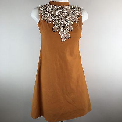 Vtg 60s Shift Day Dress Sleeveless A-Line Mod Go Go Orange Lace Floral Pearl