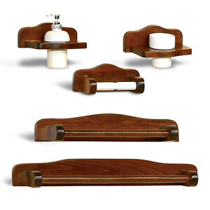 Kit a muro accessori bagno arte povera in legno noce arredo bagno classico ebay - Accessori per bagno in legno ...