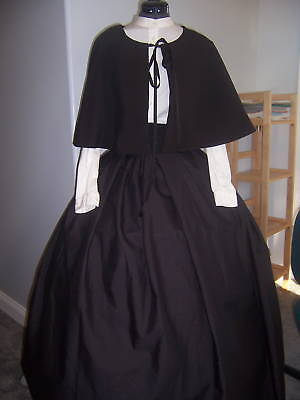 Civil War Victorian Pioneer Prairie Skirt Cape Dickens Handmade One - Pioneer Costumes