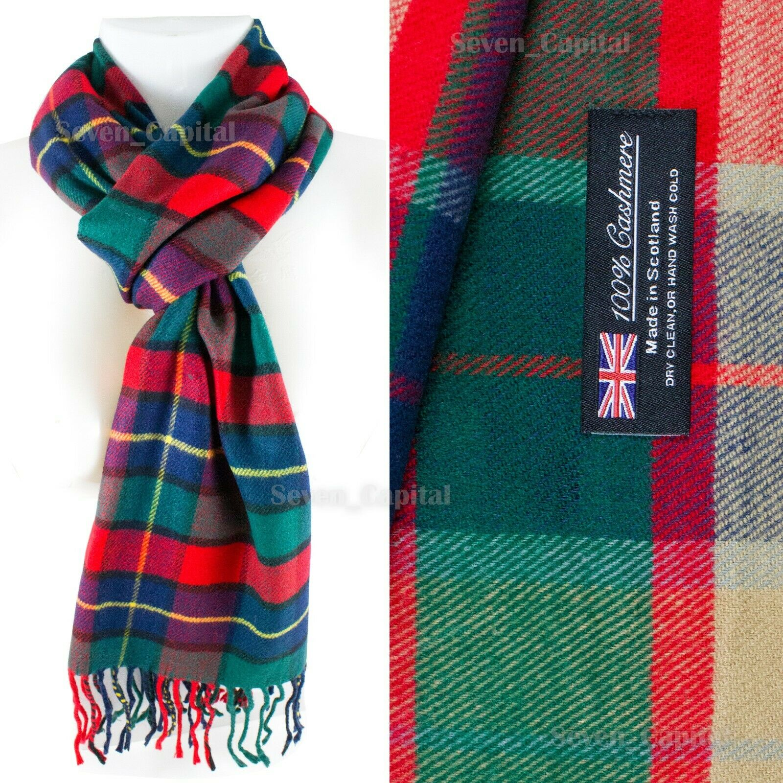 Mens Womens Winter Warm SCOTLAND Made 100% CASHMERE Scarf Scarves Plaid Wool 36. Plaid: Red/Green/Blue