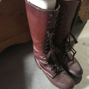 Red Leather Boots- size 9.