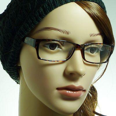 VINTAGE Nerd Rectangle Unisex Mens Frame Trendy Clear Lens Eye Glasses TORTOISE (Trendy Nerd)