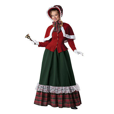 Christmas Caroling Costumes (Adult Women's Yuletide Christmas Caroler Dickens Cosplay Costume Dress Cape)
