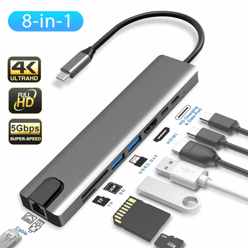8 in 1 Multiport Type C To USB-C 4K HDMI Adapter USB 3.0 Cable Hub For Macbook