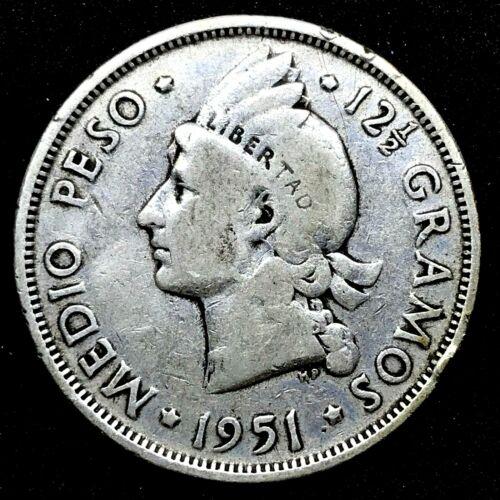 1951- Dominican Republic 1/2 Peso   0.900 Silver Coin- Rare. Km # 21.