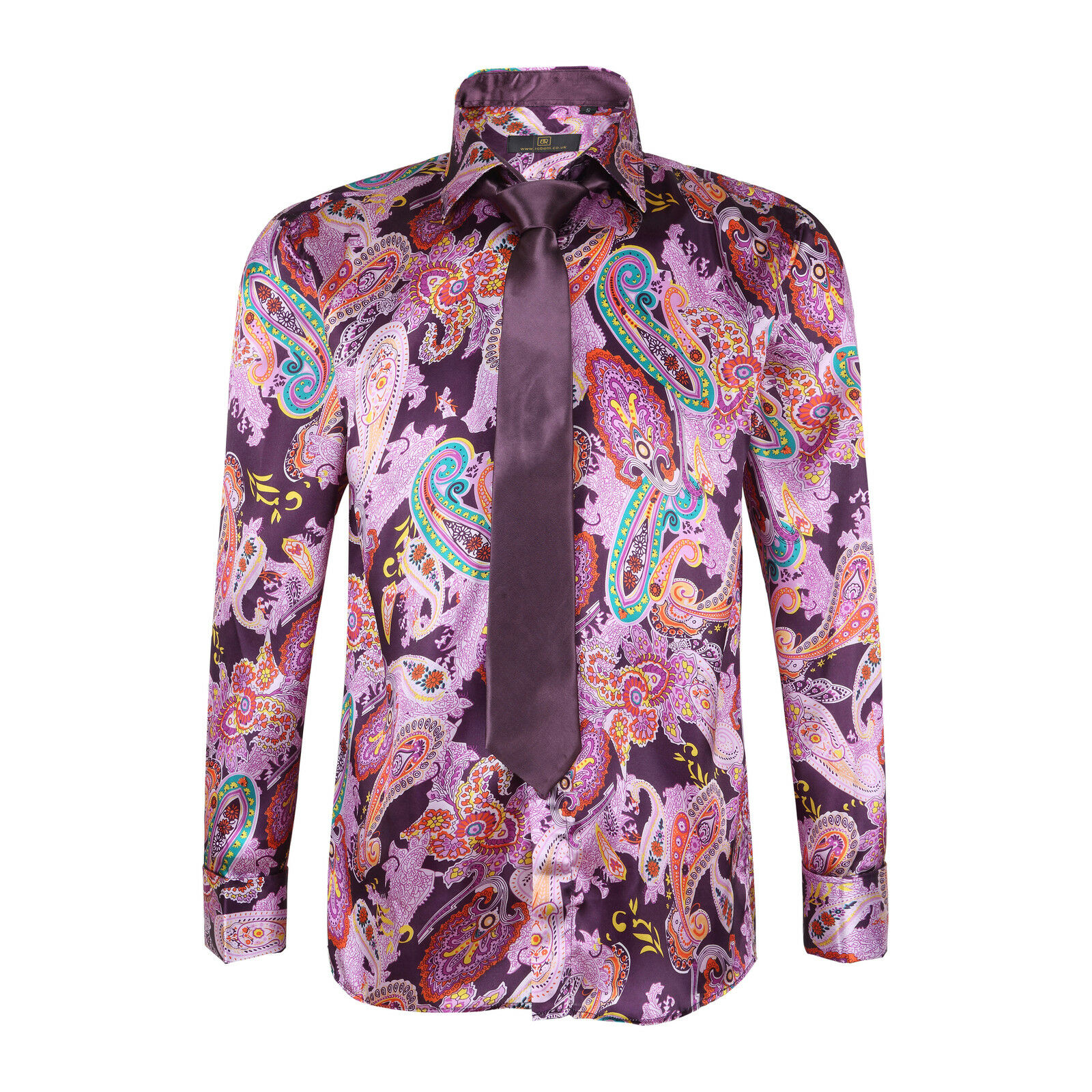 Men 39 s satin paisley pattern italian shirt with matching for Mens shirts with matching ties