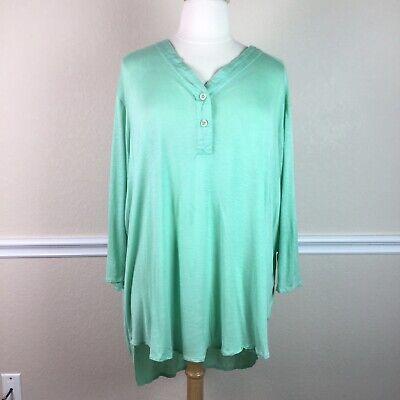 Venus Womens Top Slub Knit 3/4 Sleeve High Low Tunic Mint Green Plus Size