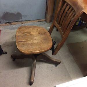 Oak office chair antique