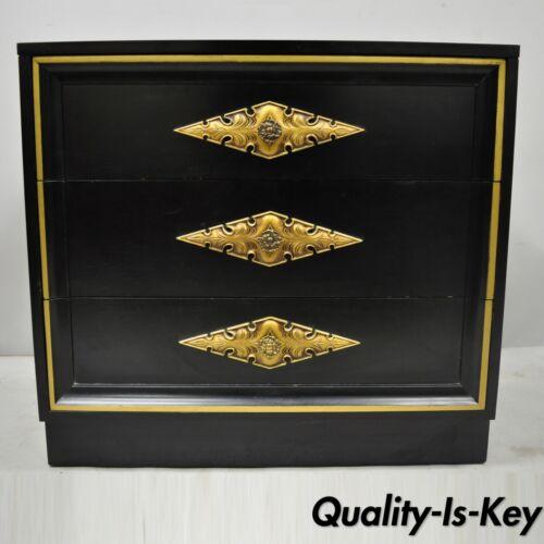 Vintage Dorothy Draper Style Black Lacquer 3 Drawer Chest of Drawers Dresser