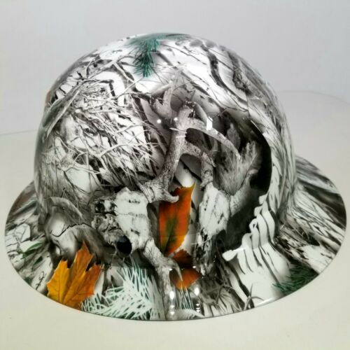 NEW FULL BRIM Hard Hat custom hydro dipped SNOW BUCK CAMO DEER HUNTER NEW SICK 3
