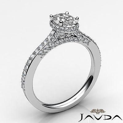 Circa Halo Bridge Accent Oval Diamond Engagement Pave Set Ring GIA F VS1 1.15Ct 1