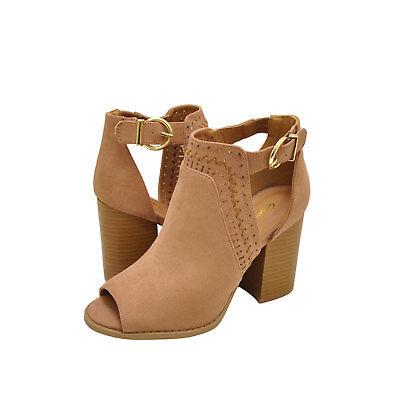 Womens Shoes Qupid Brammer 29 Peep Toe Perforated Booties Dark Blush *New*