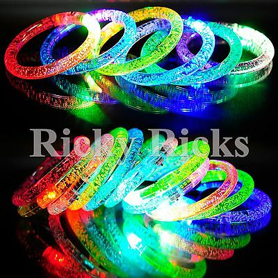 50 PCS Light-Up Bracelets Wristbands LED Flashing Rave Acrylic Plastic Bands - Glow Stick Wristbands